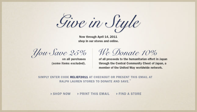 Give In Style – You Save 25%, We Donate 10%