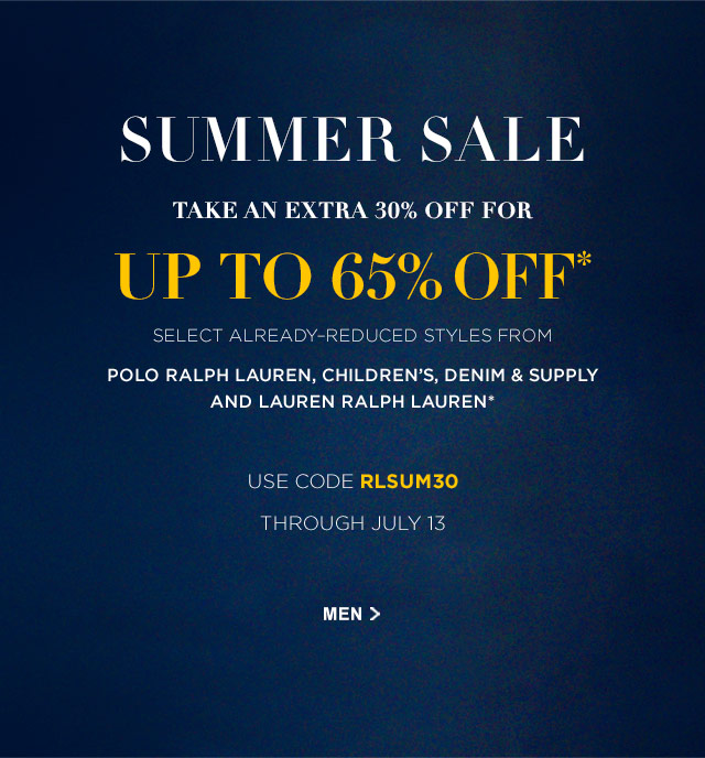 Enjoy Up To 65% Off Select Styles For Men* | Shop All Sale | Men's Clothing Sale | Ralph Lauren