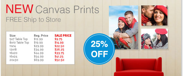NEW Canvas Prints FREE Ship to Store 25% Off